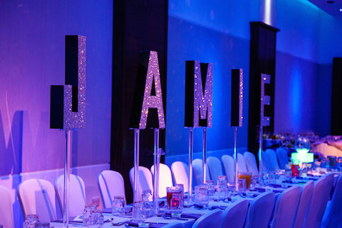Bespoke name letters table centre bat mitzvah