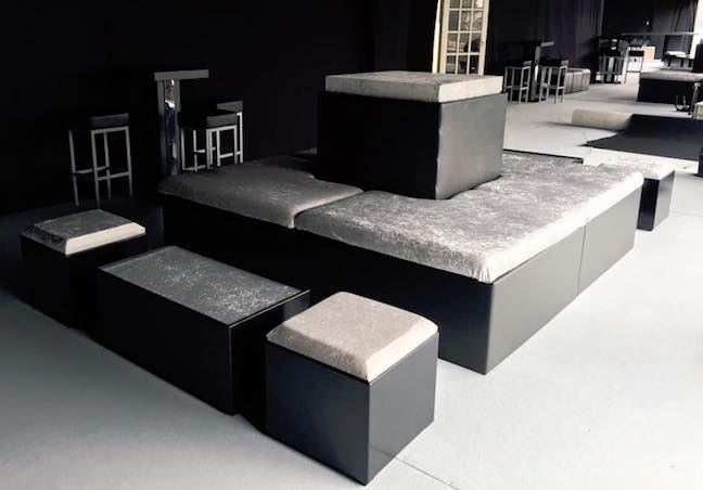Black and silver furniture island hire