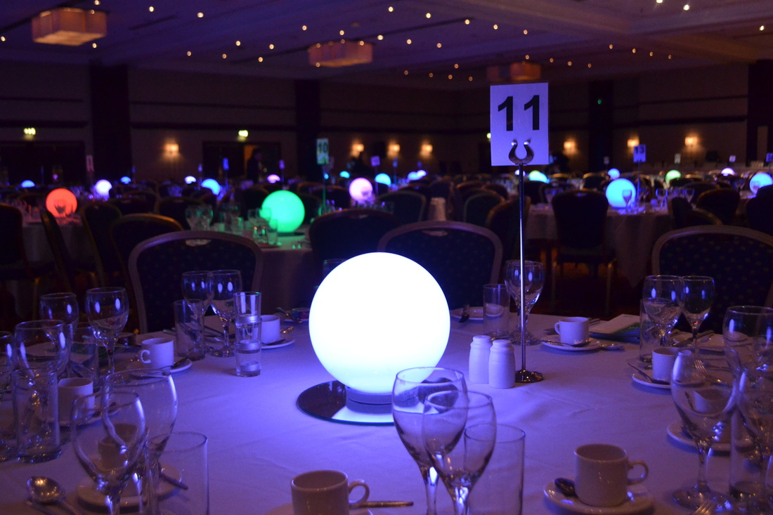 LED sphere table centre hire