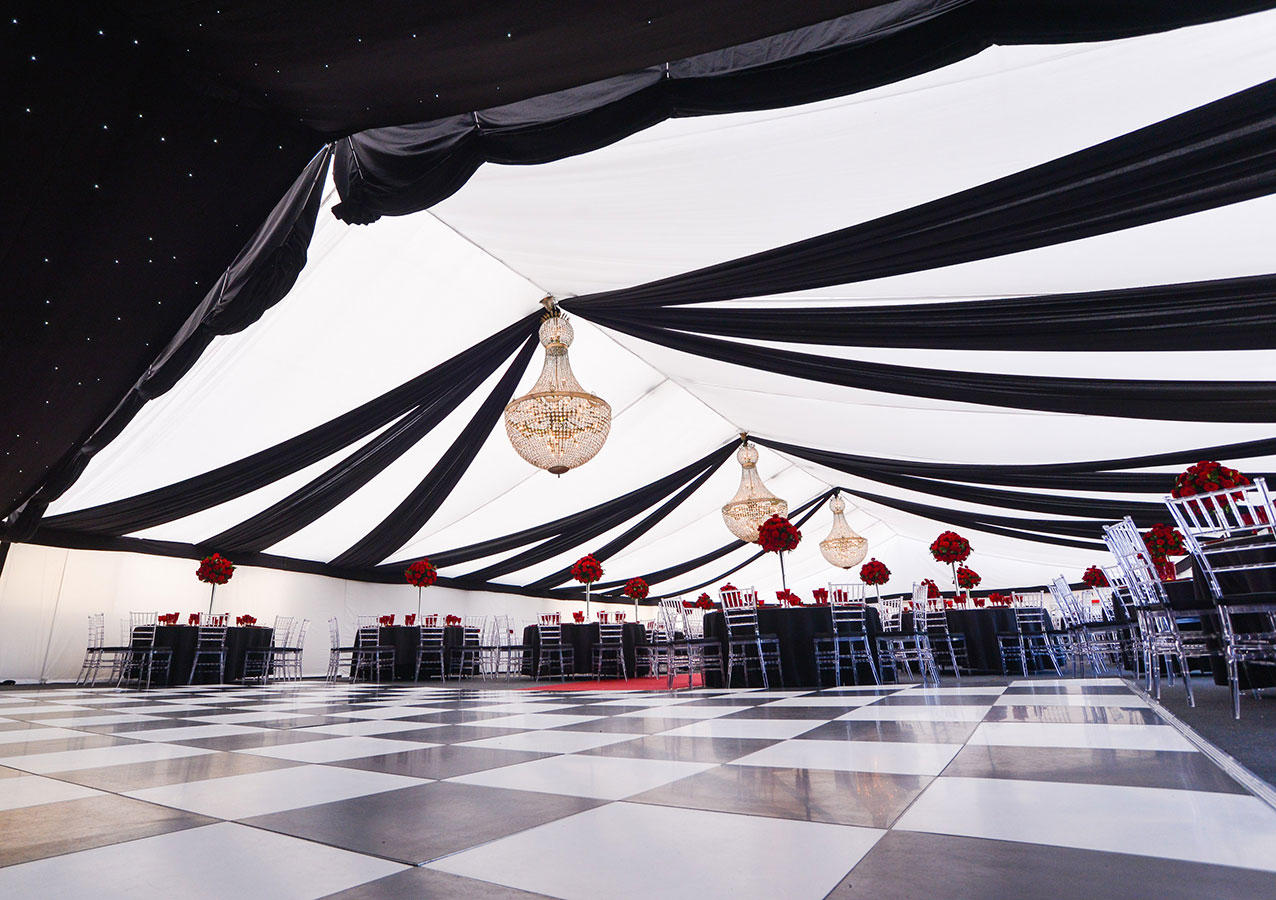 Marquee draping with chandeliers