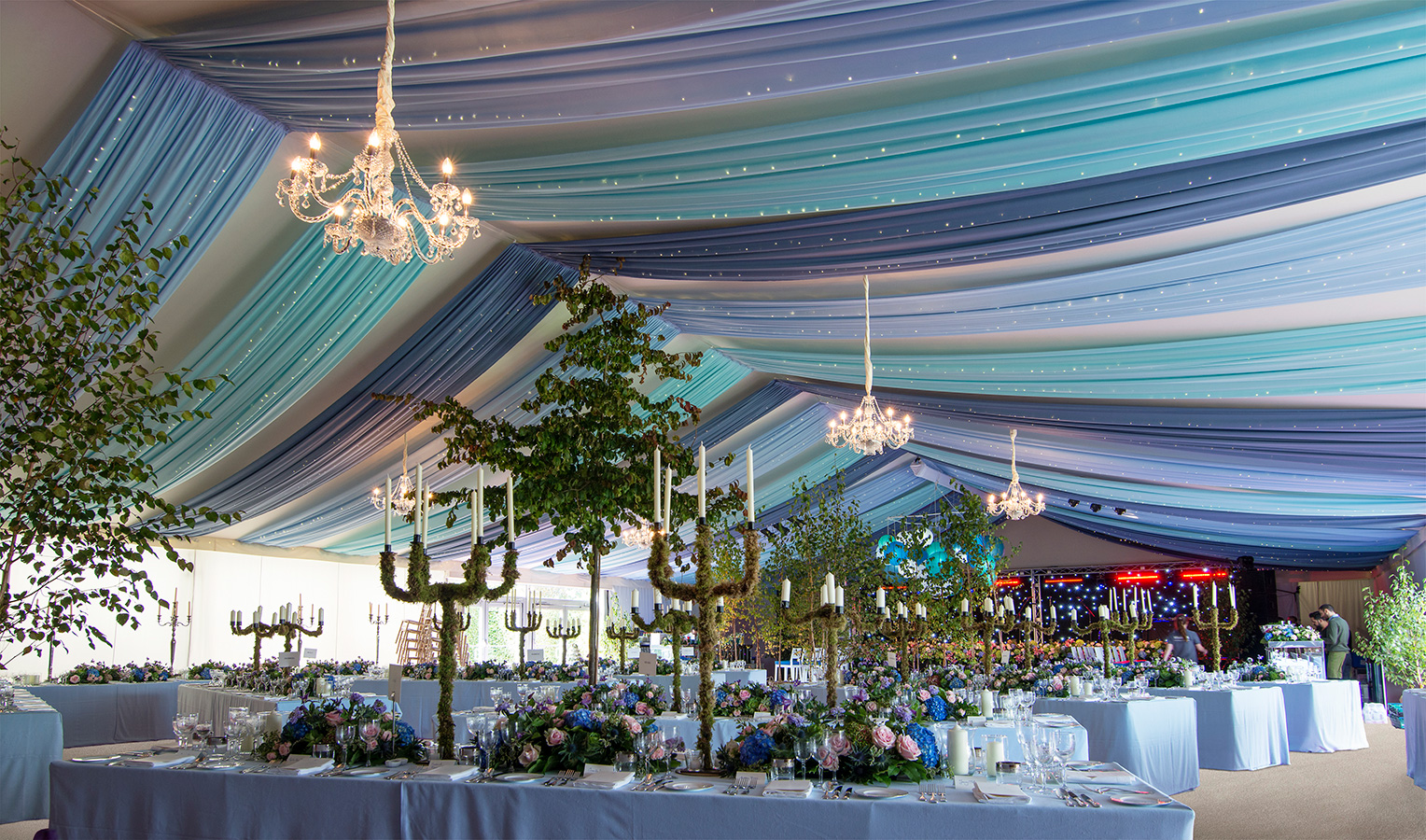 Marquee draping with fairy lights